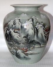Chinesisches Vase Schwarz grau Rot