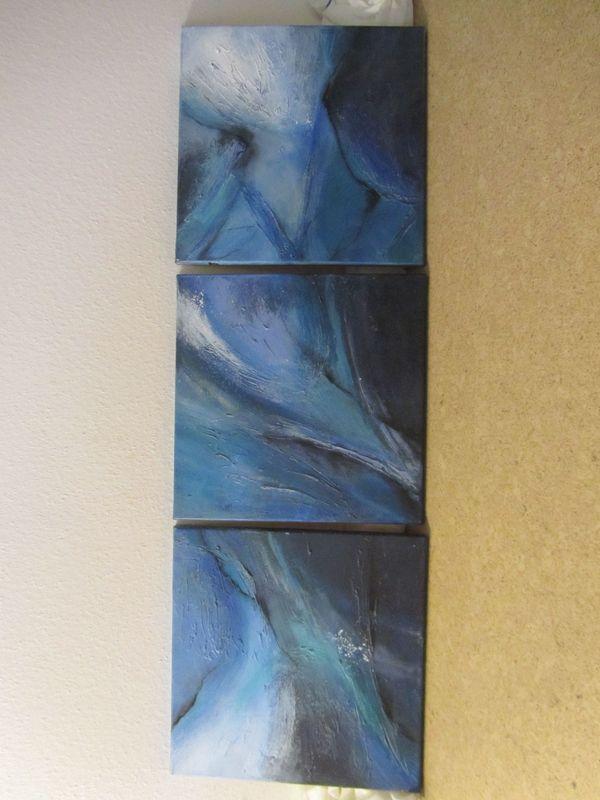 Keilrahmenbilder 3er Set in blau