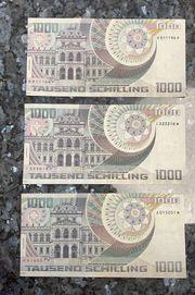 1000 Schilling Banknote 3 Stück