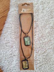 Halskette Leder Kette Grün Gold