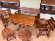 Holzgarnitur massiv 6 tlg Sitzgruppe