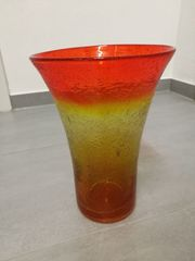 Wunderschöne Glasvase in Orange Gelb