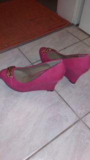 pumps modisch mit keilabsatz pink