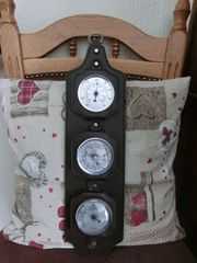 Wetterstation Leder braun Thermometer Barometer