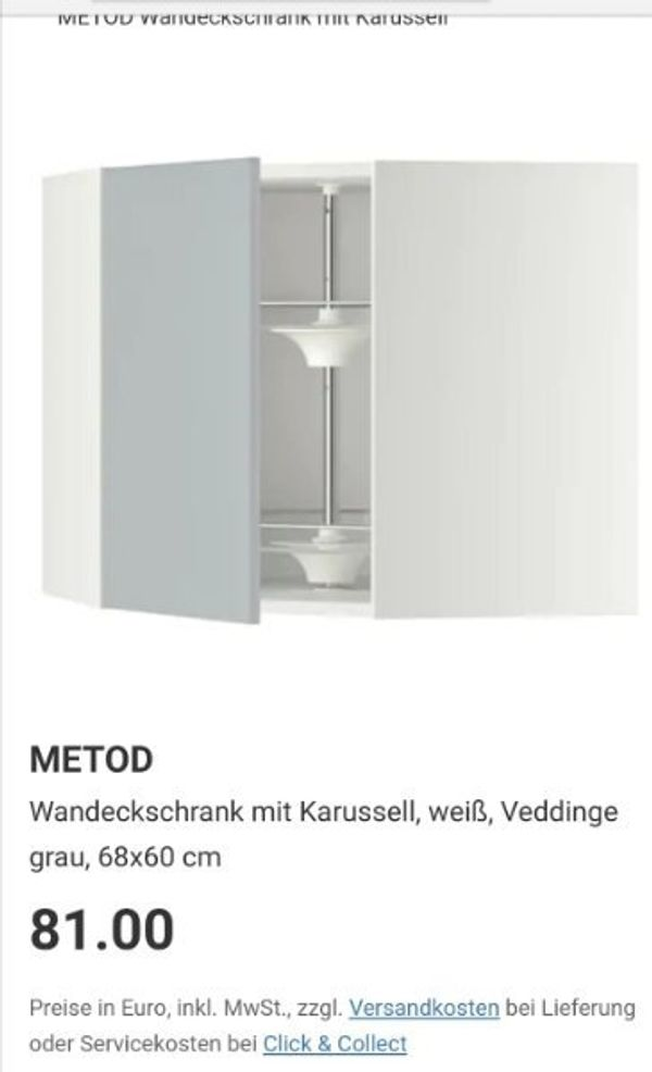 2 Metod Eckschränke für unten/oben mit Karussell Ikea Veddinge front ...