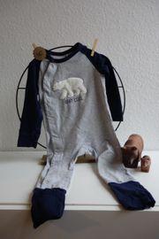 grau blau Eisbär Schlafanzug Overall