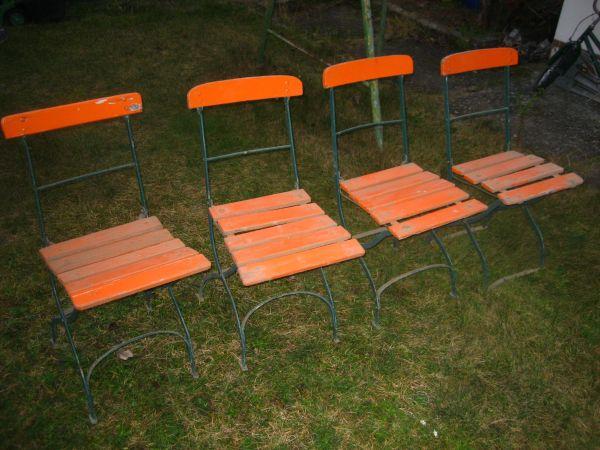 AuBergewohnlich 4 Stück Alte Gartenstühle Biergartenstuhl