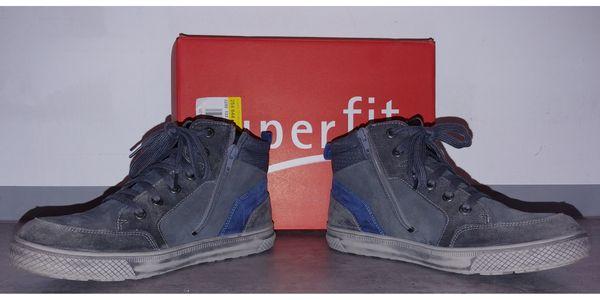 Superfit Boots grau; Größe 39 - Neuried - Superfit Tex-Bootie, grau/blau, leicht gefüttert, Schuhgröße 39, wenig getragen, guter Zustand, wasserdicht mit GoreTex. Seitlicher Reißverschluss und Schnürsenkel. Originalkarton vorhanden. - Neuried