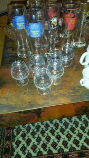 Gläser Geschir Sammelteller Zierkrüger