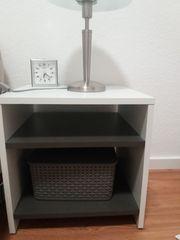 Nachttisch Nachtkonsole Nachtschrank in grau-weiß