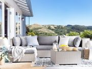 Lounge Set Rattan grau 4-Sitzer