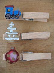 3 Wäscheklammern Holz mit Weihnachtsmotiven