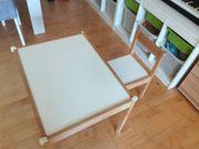 Kindertisch mit Stuhl weiß Kiefer