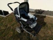 Kinderwagen Emmaljunga hellblau dunkelblau Babyschale