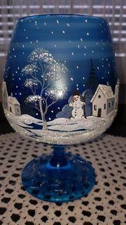 Weinachtsdekor Handbemalte Gläser Winter Motive