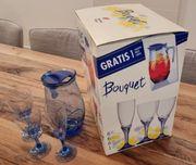 Gläser-Set mit Krug für 6