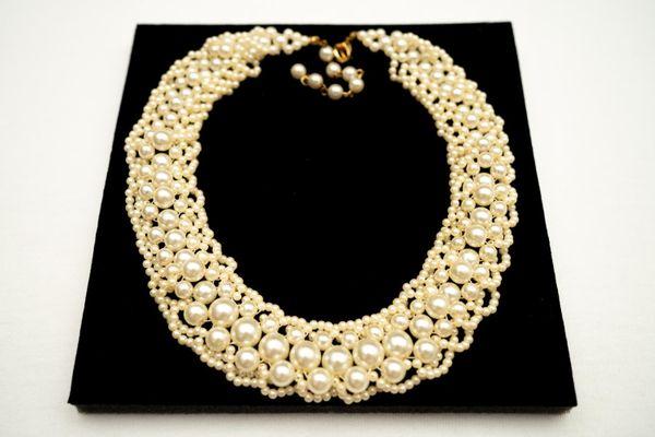 Perlen Halskette Collier Perlenkette Vergoldet