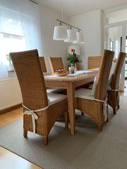 6 Esszimmerstühle Rattan Holz honigfarbenen