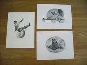 3 Original Radierungen des Künstlers