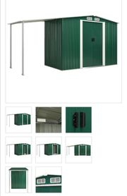 Gerätehaus mit Schiebetüren Grün 386×131×178