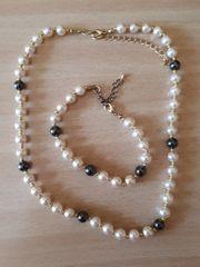 Set Perlenkette und Armband Modeschmuck