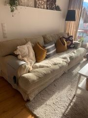 3er Sofa Couch Beige Cord