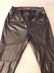 Damen-Kunstleder-Hose schwarz