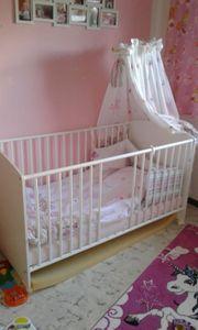 Babybett Kinderbett weiß mit Himmelstange