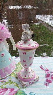 Urne Deckelvase Engel Cottage Roses