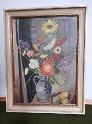 Blumen in Öl signiert 1975