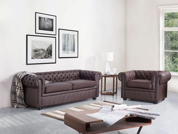 Sofa Leder braun CHESTERFIELD neu -