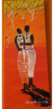 Acrylgemälde Afrikanisches Liebespaar