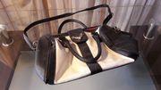 große Handtasche Tragetasche Umhängetasche schwarz-weiß