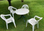 Gartengarnitur 4 Stühle mit Tisch
