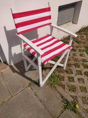Holz Klappstuhl Rot Weiß