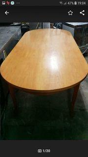 Alter Oval Holz Tisch H76cm