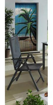 2x Gartenstuhl Klappstuhl schwarz Liegestuhl