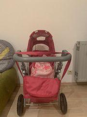 rosa Puppenwagen mit höhenverstellbarem Griff