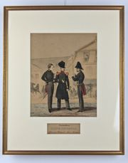 Colorierte Lithographien Antik Soldaten Uniformen