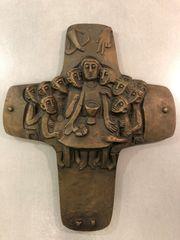 Religiöse Wandplastik Bronzekreuz Wandkreuz Kruzifix