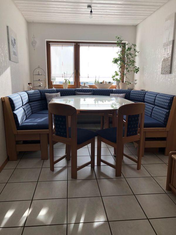 Eckbankgruppe blau mit Tisch und