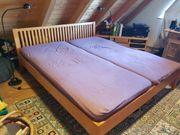 Bett Massivholz kirschfarben lackiert 2