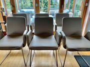 6 Esszimmerstühle Kunstleder mit Kufen