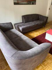 Sofa Couch grau zweiteilig Sofa