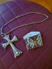 Halskette Modeschmuckkreuz und Brosche zusammen