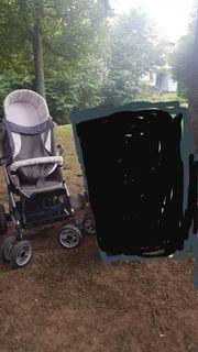 ABC kinderwagen grau rosa mit