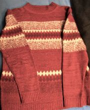 Da -Pullover weinrot weiß Gr