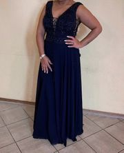 Marineblaues Abendkleid Ballkleid Abiye