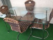 Sitzgruppe Glastisch 4 Stühle für