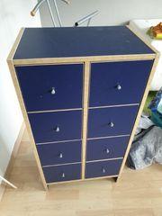 Schrank Holz blau